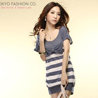 Buy Tokyo Fashion Bow-Accent Striped Dress 1022859511