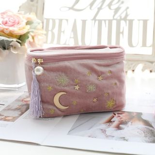 Image of Flannel Moon & Star Makeup Pouch Palevioletred - One Size