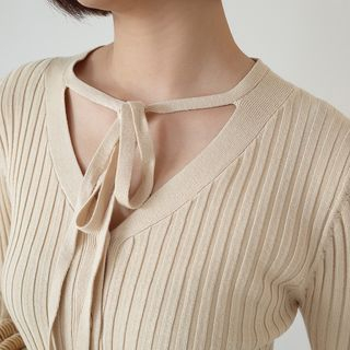 Button Down Ribbed Knit Long-Sleeve Top 1062509090