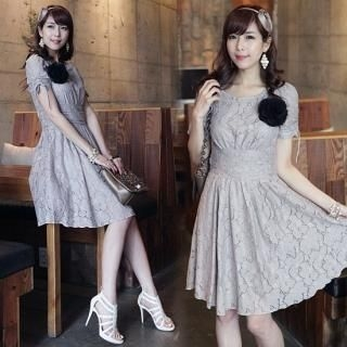 Buy IT GIRL STYLE Shirred Sleeve A-Line Lace Dress 1022593075