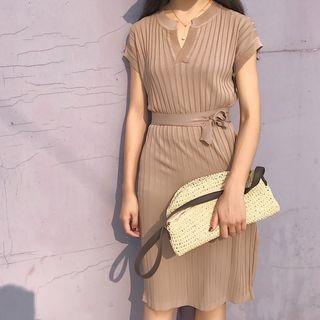 Ribbed Side-Slit Short-Sleeve Knit Dress 1060817114