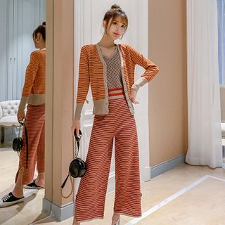 Image of Set: Plaid Tank Top + Plaid Wide- Leg Pants + Plaid Knit Cardigan As Shown In Figure - One Size