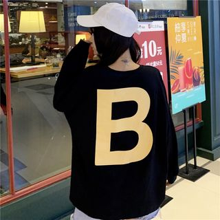 Image of B Lettering Long-Sleeve Loose-Fit Top