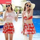 Set: Printed Bikini Top + Skirt + Cover 1596