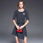 Elbow-Sleeve Asymmetric Dress 1596