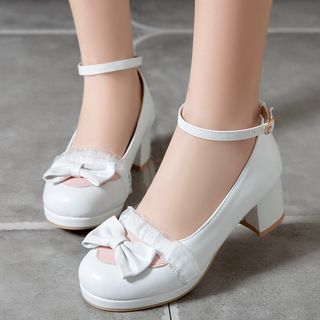 Image of Lace Trim Bow Ankle Strap Chunky Heel Pumps