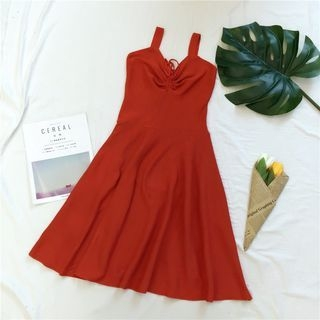 Lace Up Front Sleeveless Knit Dress 1061314468