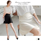 Lace Panel A-Line Skirt 1596