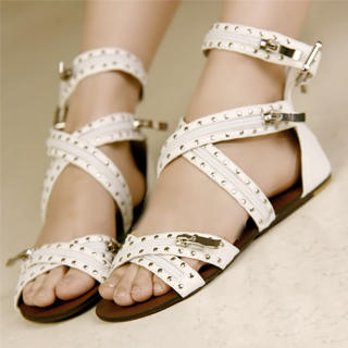 Buy Kvoll Genuine Leather Studded Zipper Sandals 1022990408