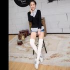 Cable Knit Thigh High Socks 1596