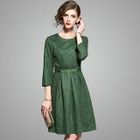 3/4-Sleeve Plain A-Line Dress 1596