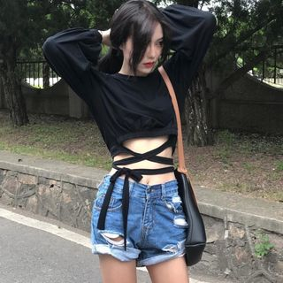 Image of Long-Sleeved Strappy Crop Top