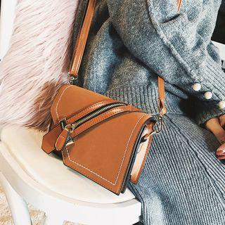 Zip Detail Faux Leather Crossbody Bag