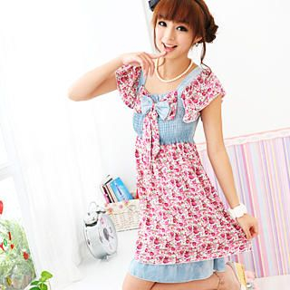 """Buy 59 Seconds Denim Panel """"Bow"""" Floral Dress White and Pink – One Size 1022871973"""