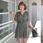 Tie-Waist Floral Chiffon Mini Dress 1596