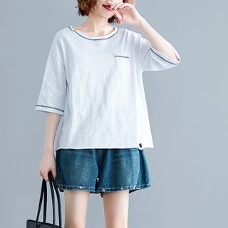 Image of Distressed Contrast Trim Elbow-Sleeve T-Shirt