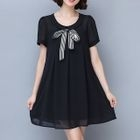 Maternity Bow Sequined Short Sleeve Dress 1596
