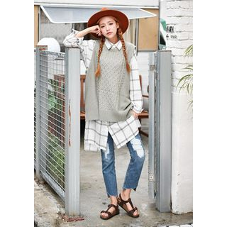 Sleeveless Wool Blend Cable-Knit Top 1051584278