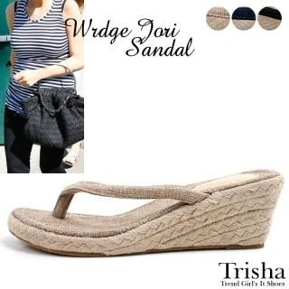 Picture of Trisha Wedge Thong Sandals 1022879102 (Sandals, Trisha Shoes, Korea Shoes, Womens Shoes, Womens Sandals)