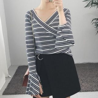 Striped V-Neck Bell-Sleeve T-Shirt 1057513332