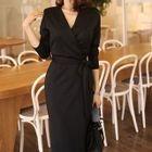 Tie-Waist Plain Midi Dress 1596