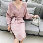 Long-Sleeve Wrap Sweater Dress 1596