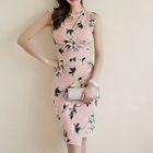 Shirred Printed Sheath Dress 1596
