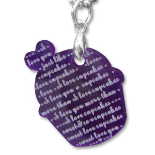 I Love Cupcakes Mirror Violet Charm Necklace