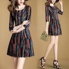 3/4-Sleeve A-line Dress 1596
