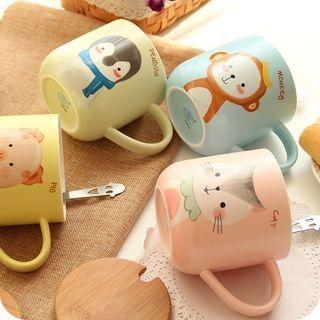 Couple Matching Cartoon Ceramic Cup + Spoon 1060377739
