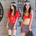 Set: Twist Pattern Bikini + Swim Skirt + Cover-Up 1596