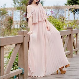 Shoulder Cut Out Pleated Maxi Dress 1056076991