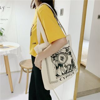 Image of Cartoon Print Canvas Tote Bag As Shown In Figure - One Size