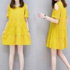 Cutout Shoulder Short-Sleeve Dress 1596