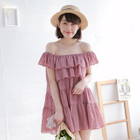 Off-Shoulder Layered A-Line Dress 1596