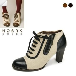 Picture of HOBAK girls Genuine-Leather Trim Canvas Ankle Boots 1022006974 (Boots, HOBAK girls Shoes, Korea Shoes, Womens Shoes, Womens Boots)