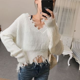 Fringe Trim V-neck Sweater 1062423077