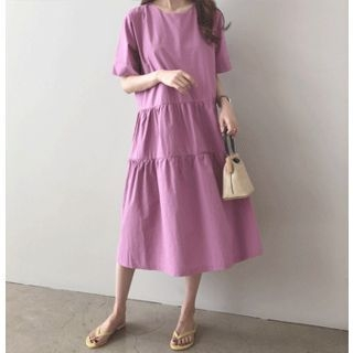 Round-Neck Tiered-Hem Midi Dress 1066250978