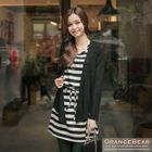 Inset Cardigan Drawstring-Waist Stripe Dress 1596