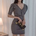 Puff-Sleeve Sheath Dress 1596