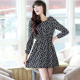 Elastic-Waist Bow-Print Chiffon Dress