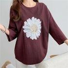 3/4-Sleeve Flower Sequined T-Shirt 1596