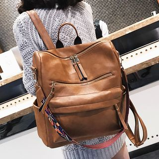 Image of Convertible Faux Leather Backpack