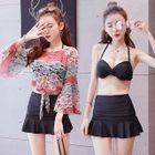 Set: Plain Bikini Top + Swim Skirt + Lace Cover-Up 1596