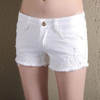 Fray Hem Lace Trim Denim Shorts 1060180912