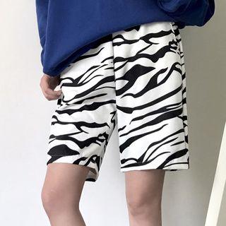 Image of Band-Waist Zebra Print Wide-Leg Shorts