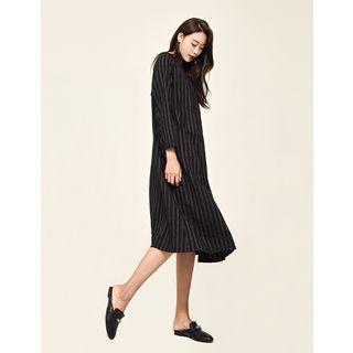 Round-Neck Striped Midi Dress 1061675969