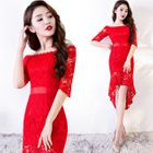 Elbow-Sleeve Sheath Lace Dress 1596