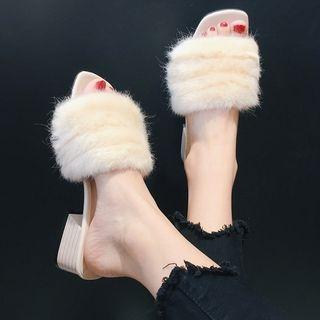 Furry Trim Chunky Heel Slide Sandals 1062098216