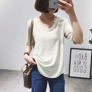 Elbow-Sleeve V-Neck Plain T-Shirt 1057917098